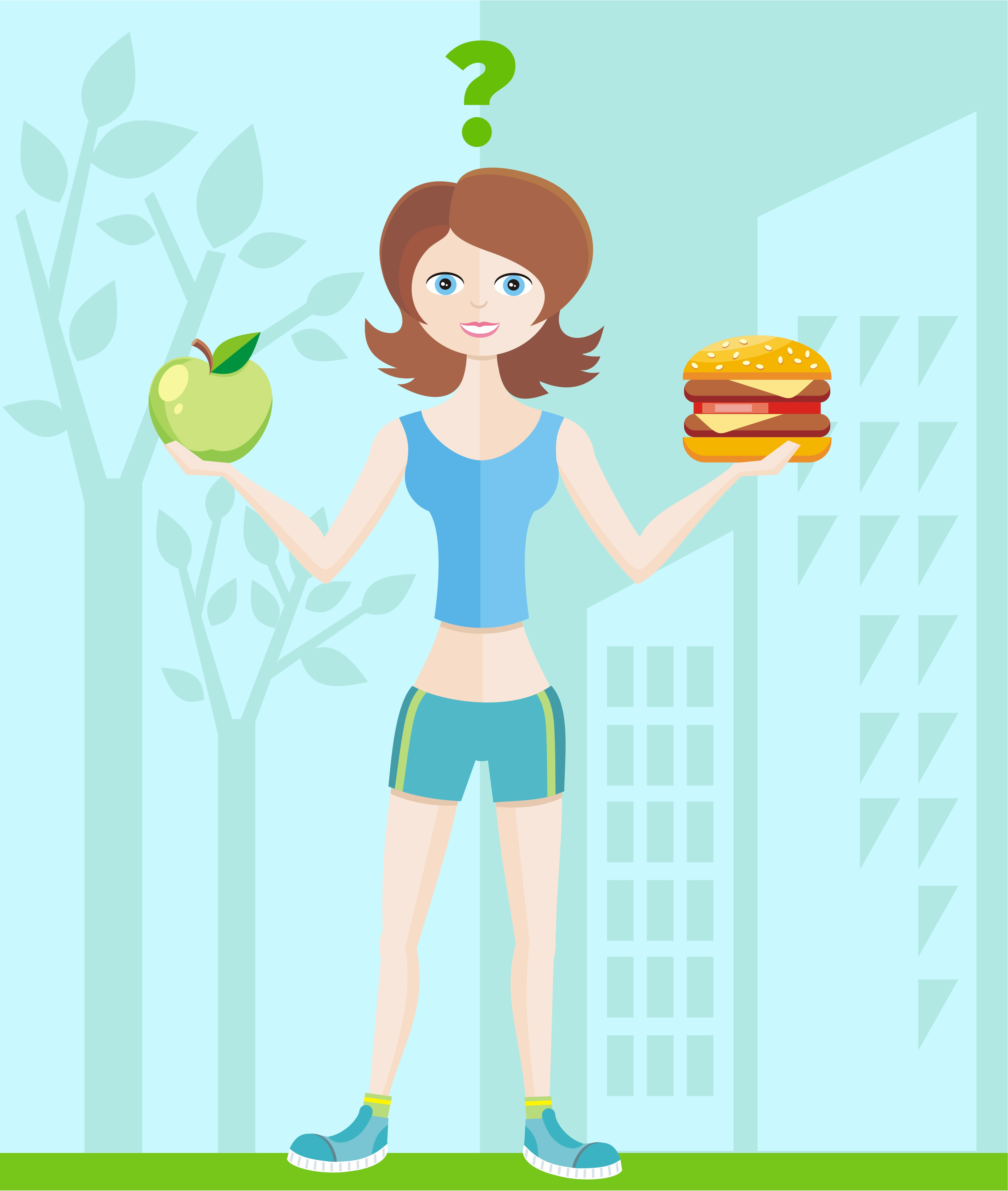 Healthy lifestyle and dieting concept with woman in sportswear choosing between eat green apple or hamburger.